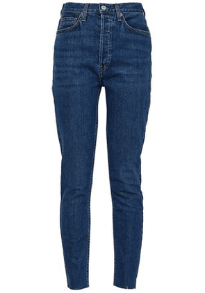 Re/done Woman Cropped High-rise Skinny Jeans Mid Denim Size 28