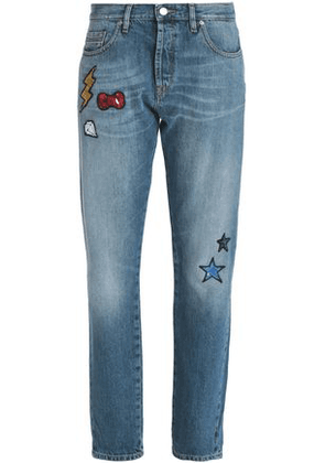 Love Moschino Woman Appliquéd Faded Mid-rise Straight-leg Jeans Mid Denim Size 28