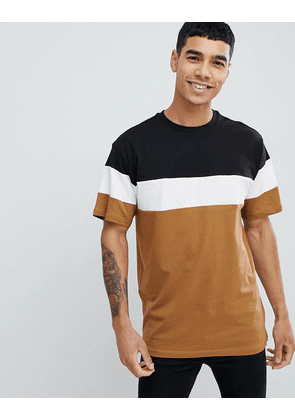 New Look oversized colour block t-shirt in tan