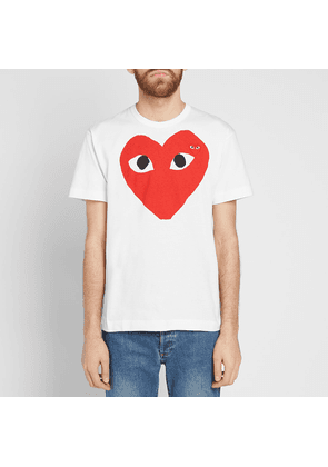 feb61ca84897a7 Comme des Garcons Play Large Double Heart Logo Tee White   Red