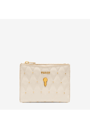 Bally Cogan White, Women's quilted calf leather French wallet in bone