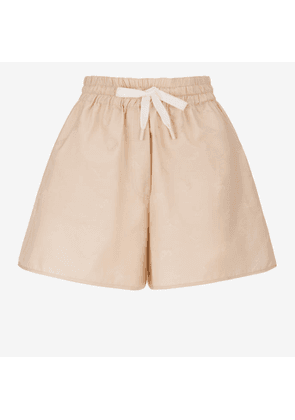 Bally Nastro Jacquard Shorts Beige, Women's cotton and silk blend shorts in biscuit