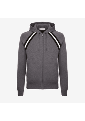 Bally Cotton Knit Lounge Hoodie Grey, Men's cotton knit hoodie in grey