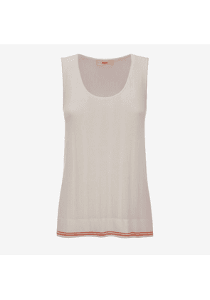 Bally Crochet Viscose Tank Top White, Women's viscose tank top in bone