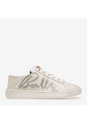 Bally Wisen White, Women's embroidered calf leather trainer in white