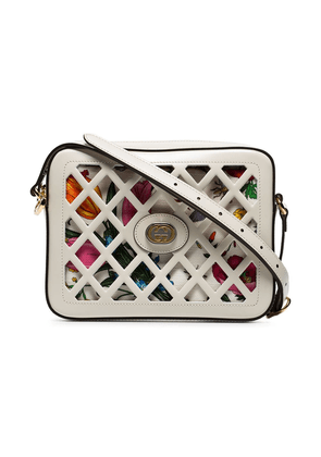 Gucci white small cutout floral print leather shoulder bag