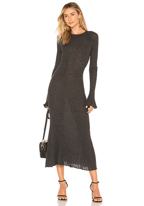 Autumn Cashmere Rib Bell Sleeve Dress in Charcoal. Size XS.