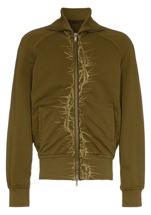 Haider Ackermann thorn embroidered cotton bomber jacket - Green