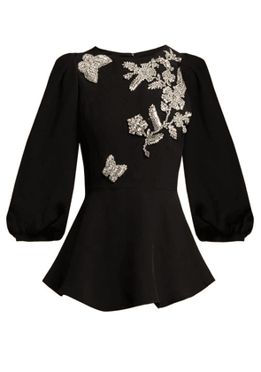 Andrew Gn - Crystal Embellished Peplum Top - Womens - Black Silver