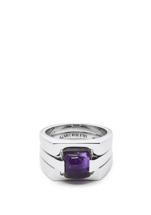 Alan Crocetti - Puzzle Amethyst Studded Sterling Silver Ring - Mens - Silver