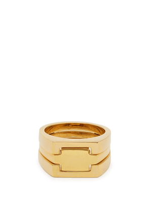 Alan Crocetti - Puzzle Gold Plated Signet Ring - Mens - Gold