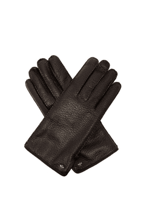 Gucci - Bee Embellished Grained Leather Gloves - Mens - Black