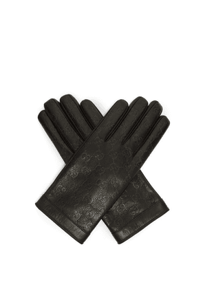 Gucci - Logo Debossed Leather Gloves - Mens - Black