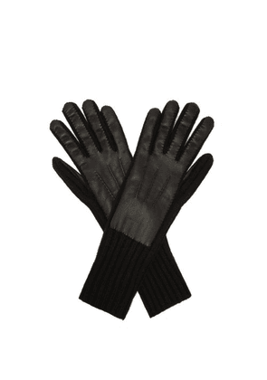 Burberry - Leather Panelled Cashmere Gloves - Mens - Black
