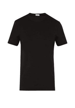 Dolce & Gabbana - Logo Embroidered Cotton Blend T Shirt - Mens - Black