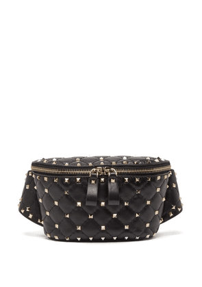Valentino - Rockstud Spike Quilted Leather Belt Bag - Womens - Black