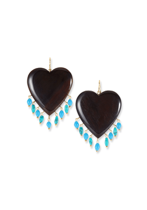 Landa Heart & Dangle Earrings, Dark/Turquoise
