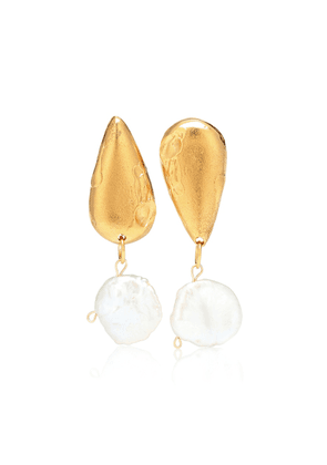 The Fear And The Desire 24kt gold-plated and pearl earrings