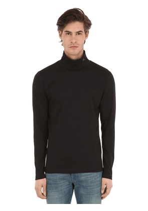 Logo Embroidered Cotton Turtleneck