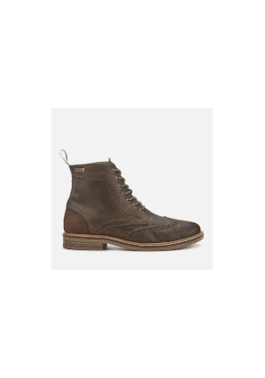 Barbour Men's Belsay Leather Brogue Lace Up Boots - Choco - UK 7 - Brown