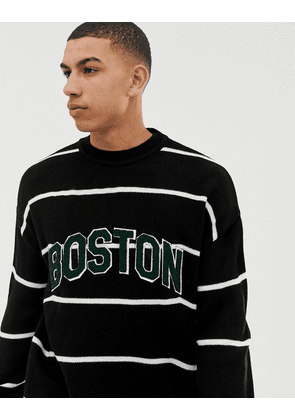 New Look crew neck stripe jumper with Boston lettering