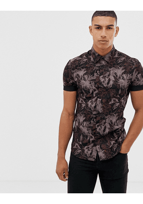 New Look muscle fit floral shirt in black