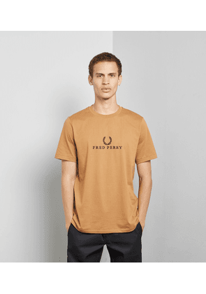 Fred Perry Tonal Embroidered T-Shirt, Brown