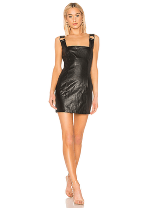 DANIELLE GUIZIO Faux Leather O-Ring Dress in Black. Size S,M,L.