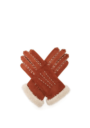 Agnelle - Suede And Wool Trimmed Gloves - Womens - Camel