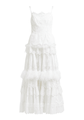 Dolce & Gabbana - Floral Cotton Blend Broderie Anglaise Gown - Womens - White