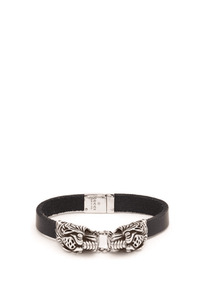 Gucci - Tiger Head Leather Bracelet - Mens - Silver