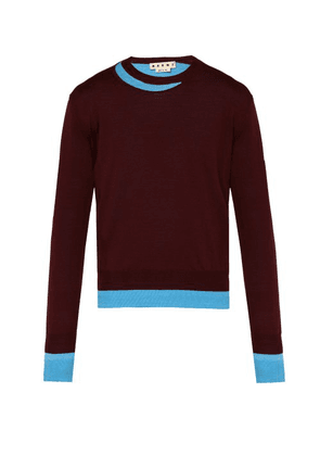 Marni - Double Layered Cotton Blend Sweater - Mens - Burgundy