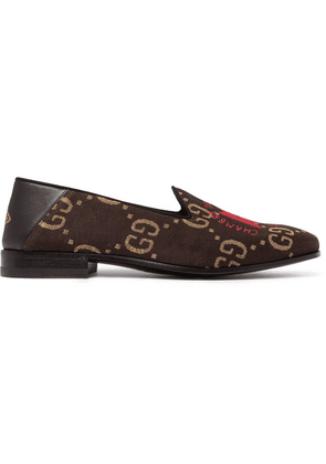 Gucci - Gallipoli Collapsible-heel Leather-trimmed Embroidered Metallic Jacquard Loafers - Black