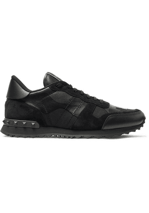 Valentino - Valentino Garavani Rockrunner Camouflage-print Canvas, Leather And Suede Sneakers - Black