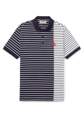 Burberry - Slim-fit Striped Cotton-jersey Polo Shirt - Navy