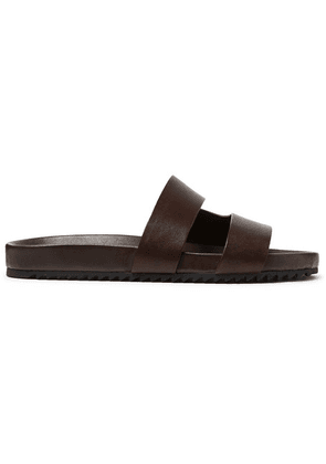 Grenson - Chadwick Hand-painted Leather Slides - Dark brown