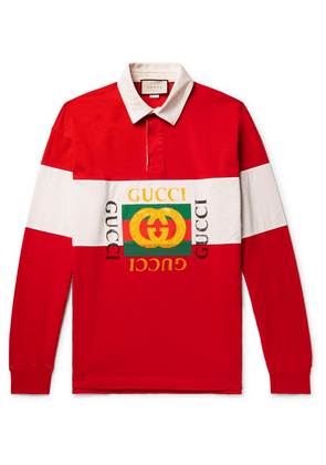 Gucci - Logo-print Striped Loopback Cotton-jersey Polo Shirt - Red