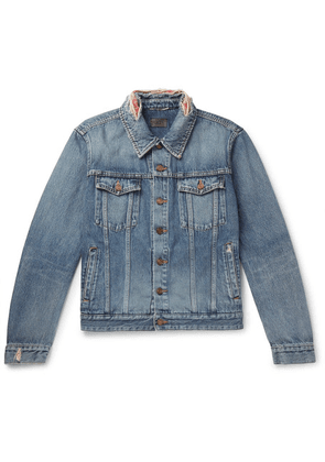 Saint Laurent - Slim-fit Bandana-trimmed Distressed Denim Jacket - Blue