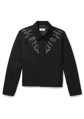 Saint Laurent - Slim-fit Embellished Wool-brocade Jacket - Black