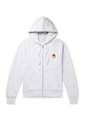 AMI - + The Smiley Company Logo-appliquéd Mélange Loopback Cotton-jersey Zip-up Hoodie - Gray