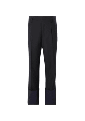 Lanvin - Pleated Panelled Wool Trousers - Navy