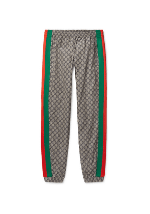 Gucci - Webbing-trimmed Logo-print Shell Drawstring Trousers - Gray