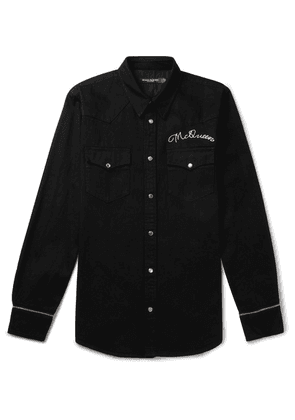 Alexander McQueen - Slim-fit Logo-embroidered Denim Western Shirt - Black