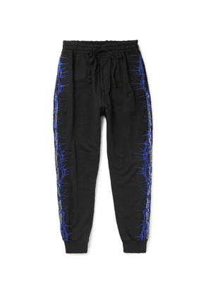 Haider Ackermann - Slim-fit Tapered Embroidered Loopback Cotton-jersey Sweatpants - Black