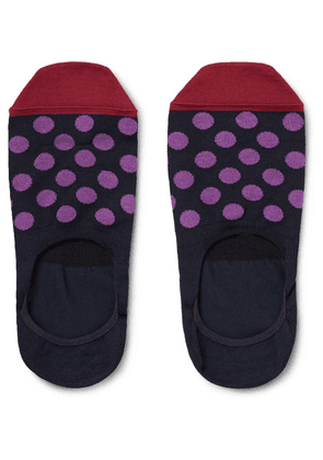 Paul Smith - Polka-dot Mercerised Stretch Cotton-blend No-show Socks - Navy