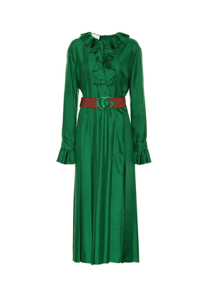 Belted silk dress