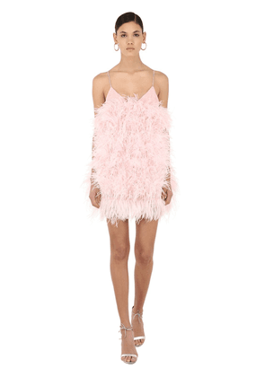 Feathered Mini Dress W/ Sequins