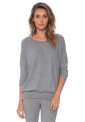 eberjey Cozy Time Slouchy Tee in Grey. Size S.