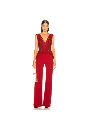 Zuhair Murad Embroidered Lace Top Jumpsuit in Red