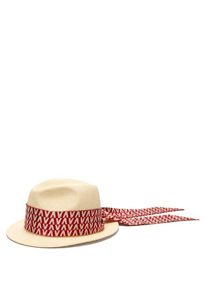 Valentino - Optical Print Scarf Straw Trilby Hat - Womens - Red